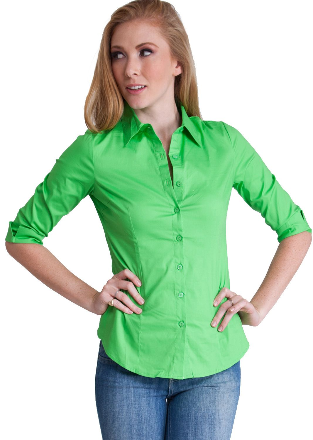 11ad7dc3e5c97e Three Quarter Sleeve Button Up Blouse T1005L, clothing, clothes, womens  clothing, jeans, tops, womens dress