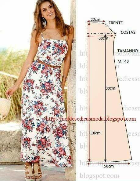 612e589ce Solera larga y simple   moldes ropa   Costura, Patrones vestidos ...