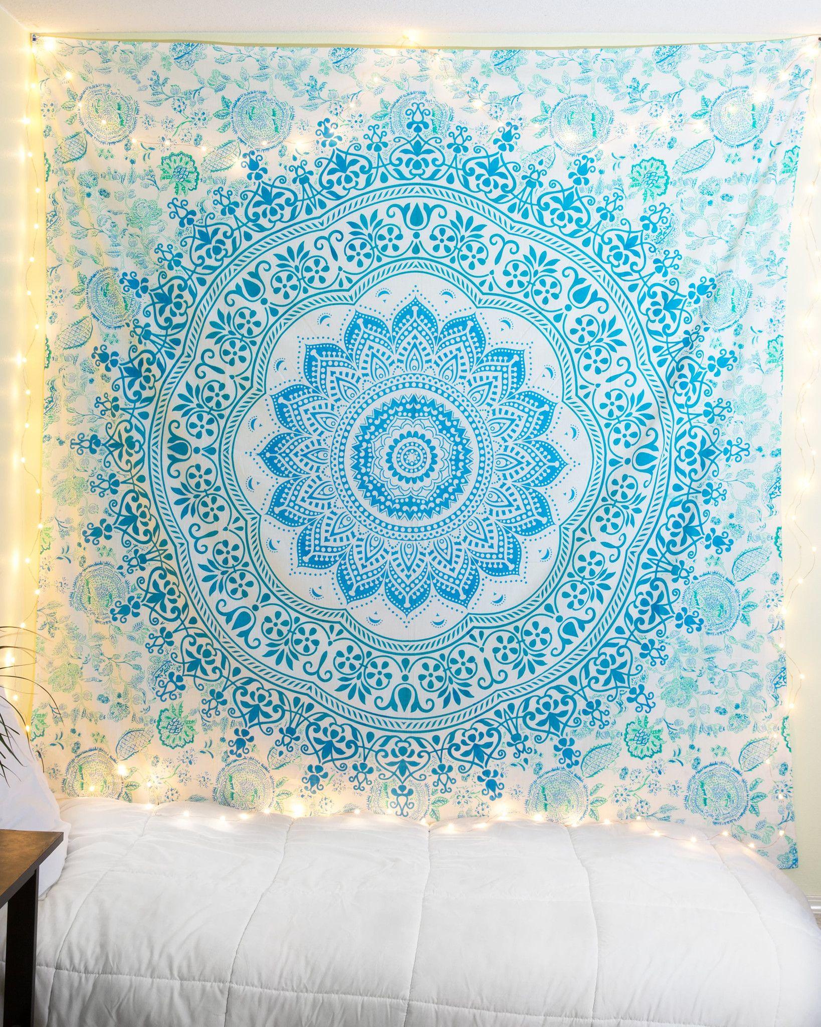 Blue Green Watercolor Mandala Tapestry Tapetes E Quartos ~ Papel De Parede Hippie Para Quarto