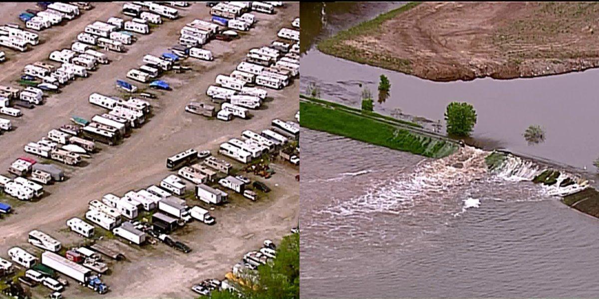 Levee breaches near St. Charles RV storage area causing