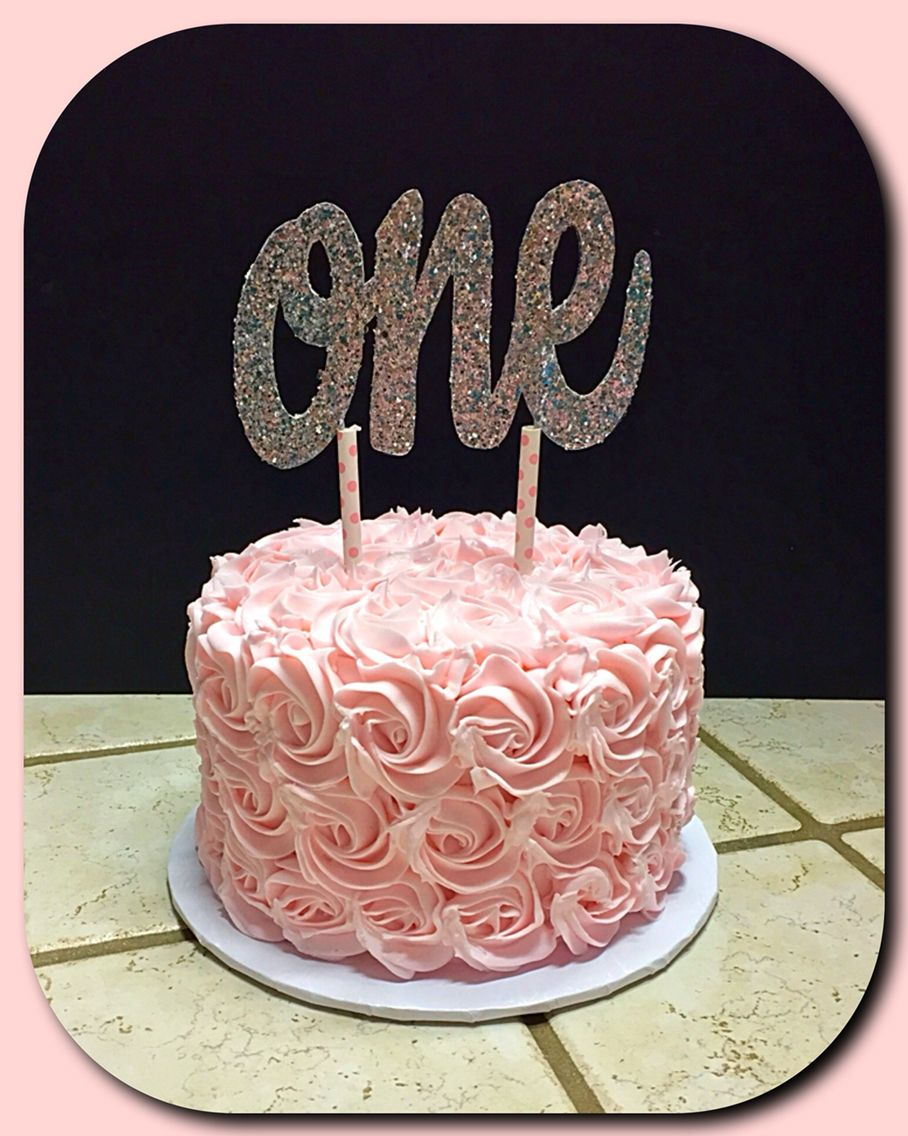 Pink Rosette Cake For A Sweet One Year Old Baby Girl First Birthday