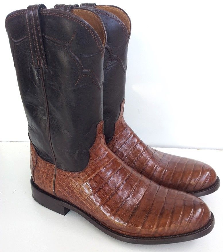 c6a368b2b02 NEW! LUCCHESE DUSTIN CAIMAN COWBOY WESTERN ROPER BOOTS US 11D rrp ...