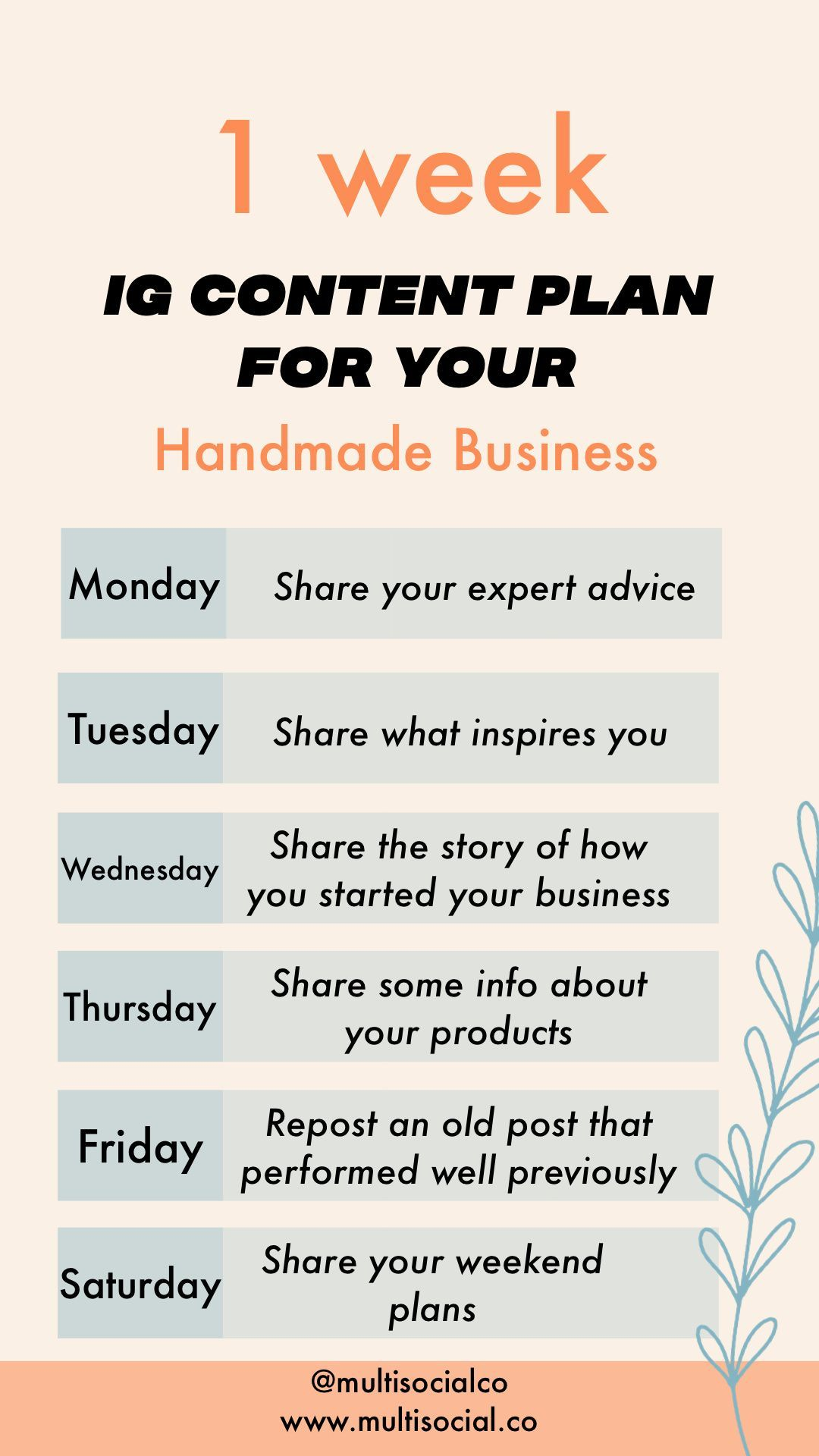 1 Week Done For You Plan For Your Ig Social Media Marketing Business Social Media Marketing Plan Social Media Business