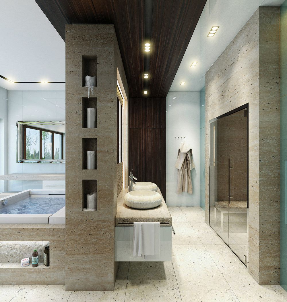 Bathroom design ideas: choose walls, ceiling, layout - 70 photos 27