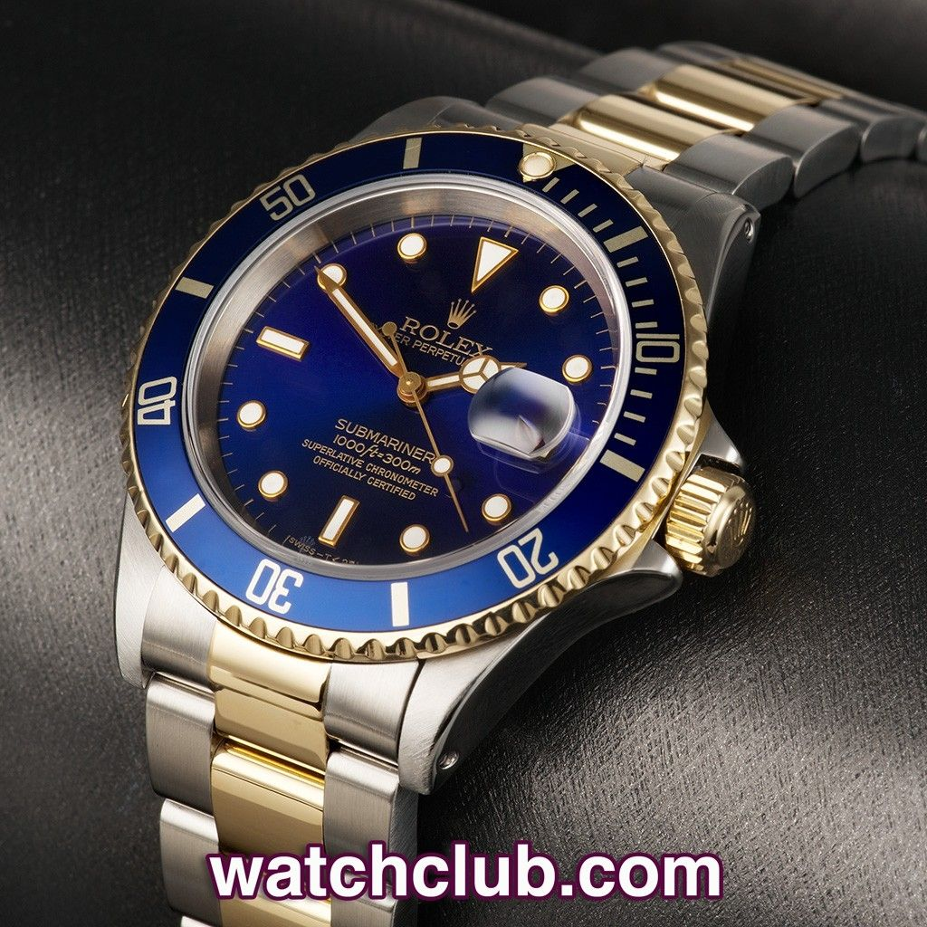 Rolex Submariner Date Gold & Steel - Blue Dial REF: 16613   Year 1997  One of Rolex's most iconic and enduring designs, this 18ct gold and steel Submariner is in superb condition. By taking the tough, no-nonsense Submariner design and adding a solid 18ct gold bezel, crown and steel and gold bracelet Rolex have ensured the Submariner looks as good with a dinner suit as it does with a wet-suit. Powered by the famously reliable Rolex cal.3135 automatic movement with date