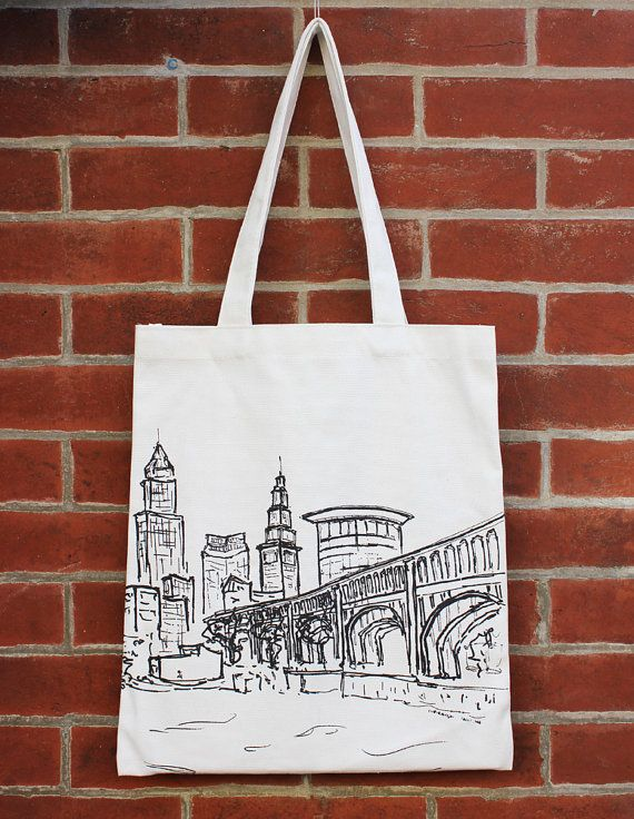 Cleveland Art Canvas Tote Bag With Pocket Architecture City