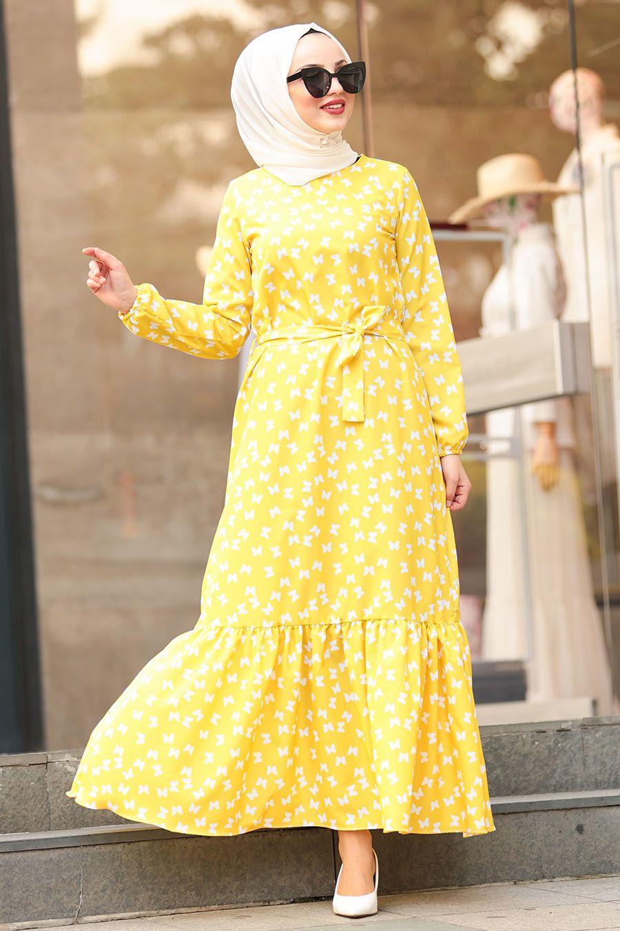 Nayla Collection Kelebek Desenli Sari Tesettur Elbise 5005sr Tesetturisland Com Elbise Sari Elbise Giyim