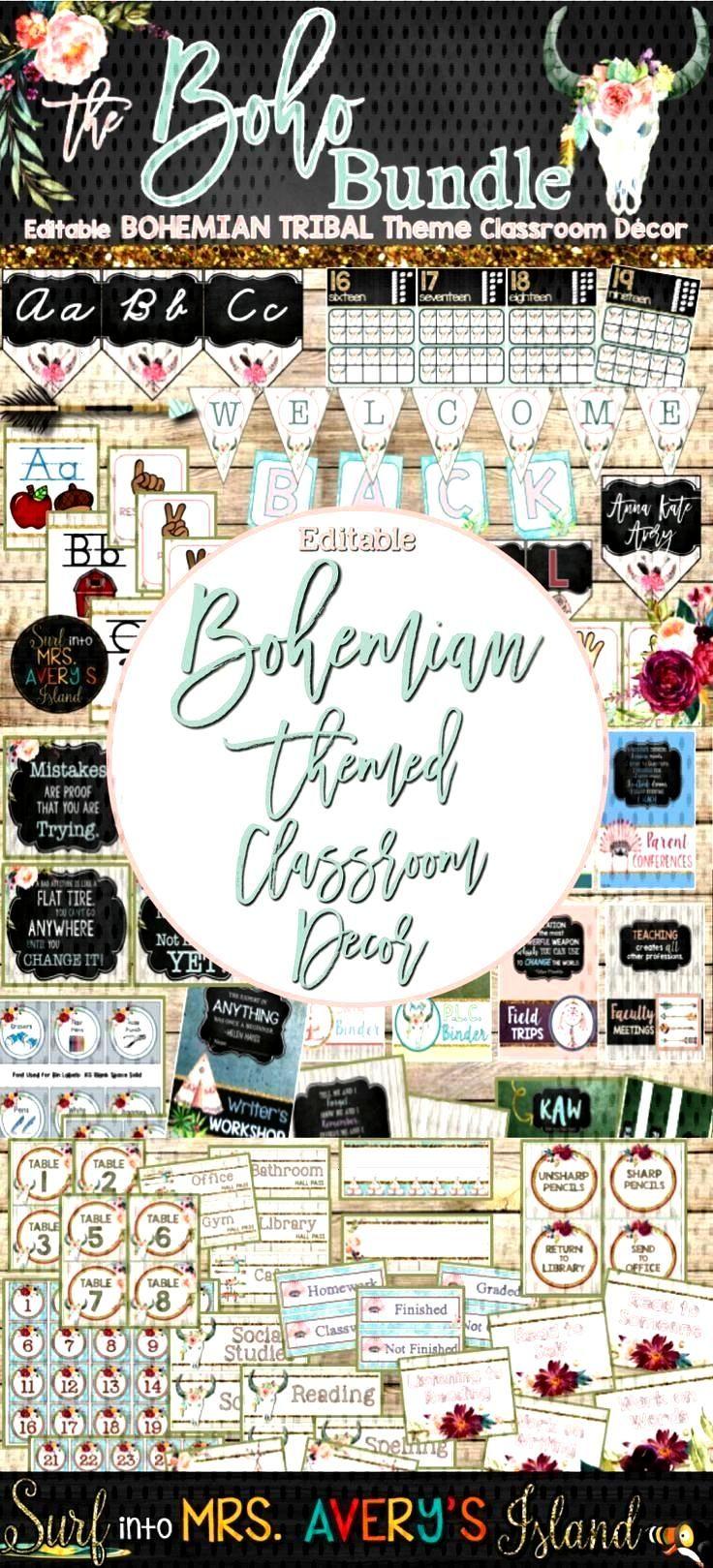 Classroom Themes Decor Bundle - Bohemian Shabby Chic Editable -  Your Boho themed classroom will be