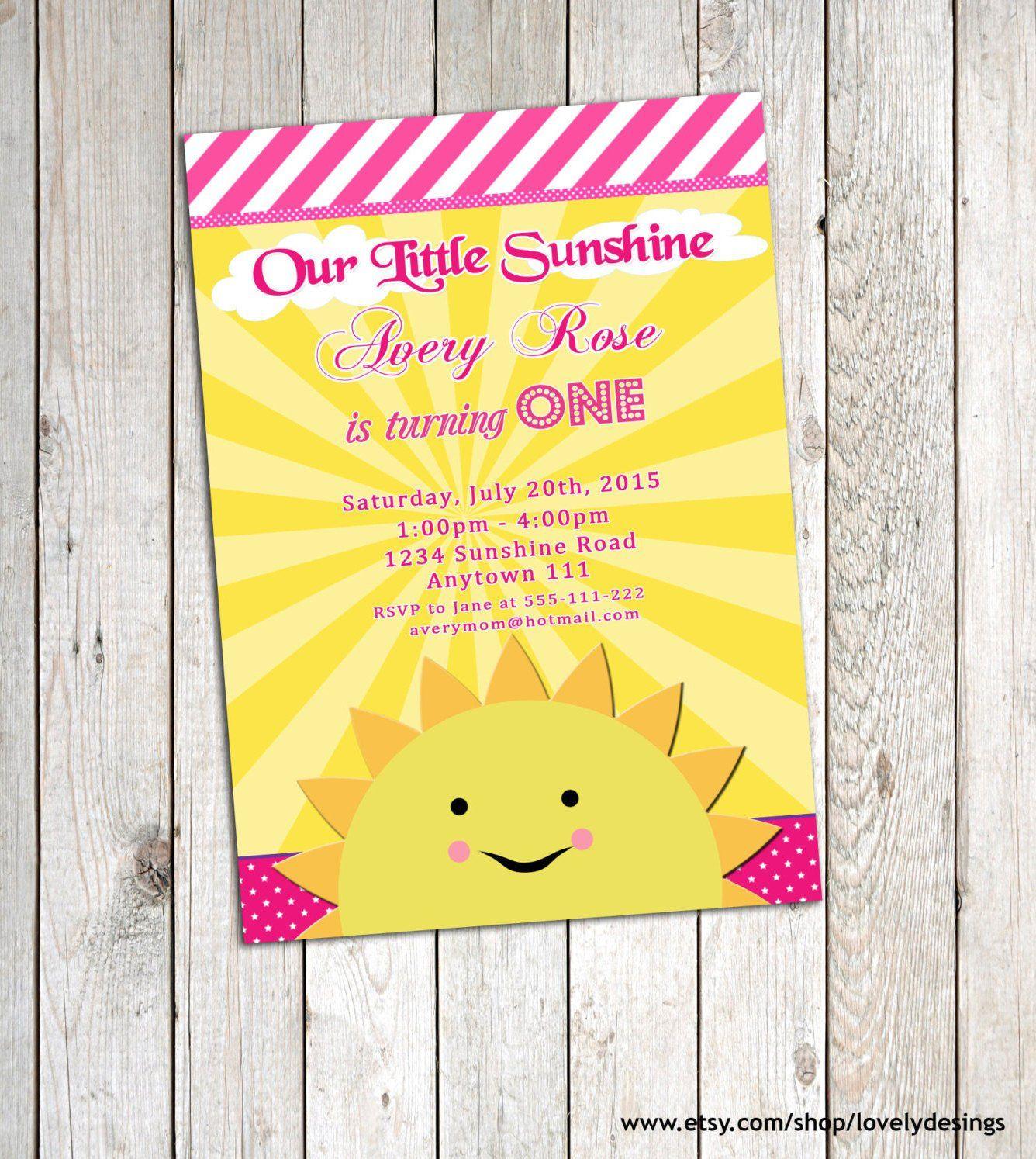 You Are My Sunshine Invitation Birthday Party Personalized Etsy Sunshine Birthday Printable Birthday Invitations Birthday Invitations