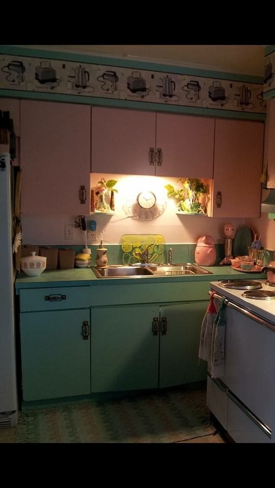 Pink and turquoise kitchen cabinets | Turquoise kitchen ...