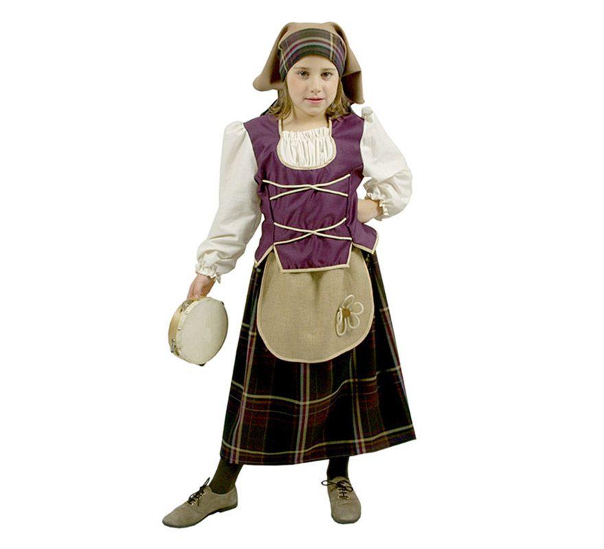disfraz para nias de pastora violeta rstica deluxe incluye camisa con chaleco pauelo y
