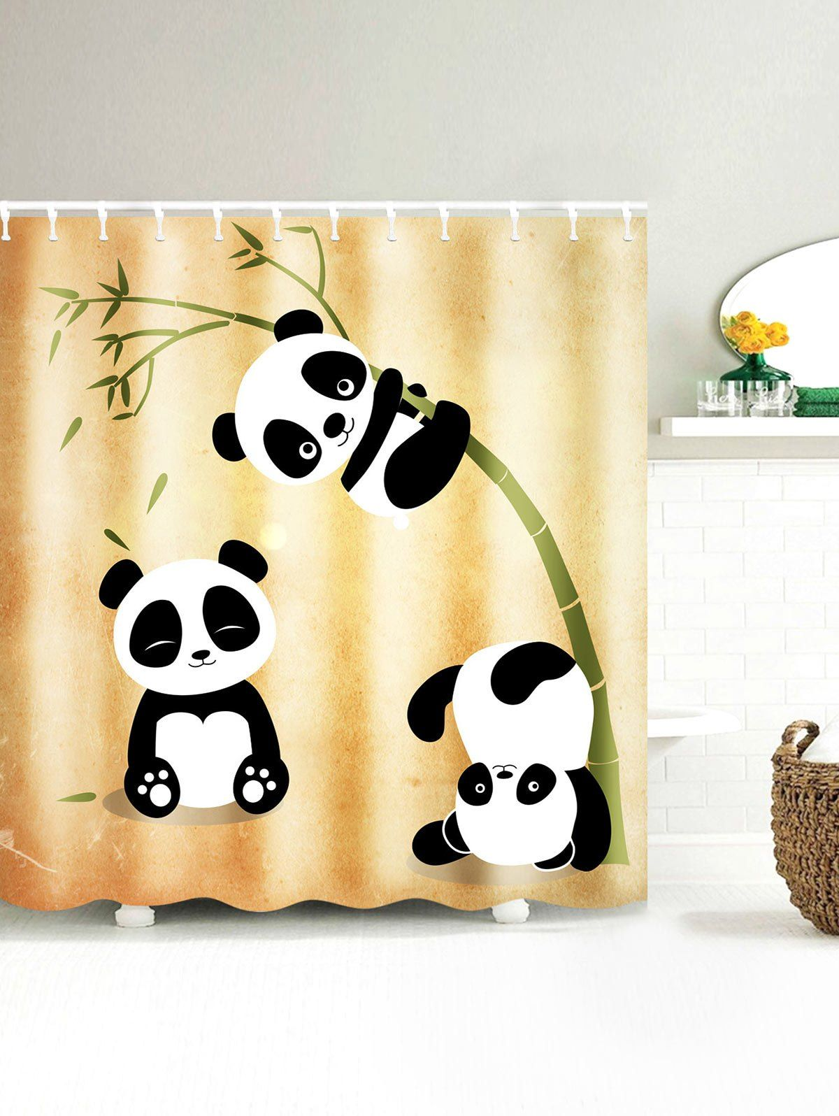 Three Pandas Play With Bamboo Print Waterproof Shower Curtain