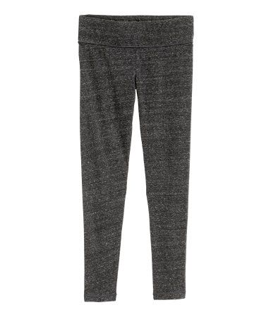 Black melange. CONSCIOUS. Ankle-length leggings in melange jersey made from organic cotton. Wide elastication at waist.