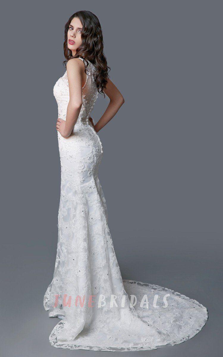 Amazing vneck lace mermaid dress with illusion back u june bridals