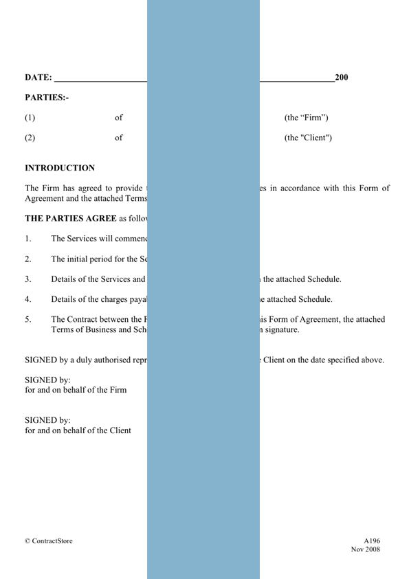 Printable Sample It Services Contract Form  Laywers Template