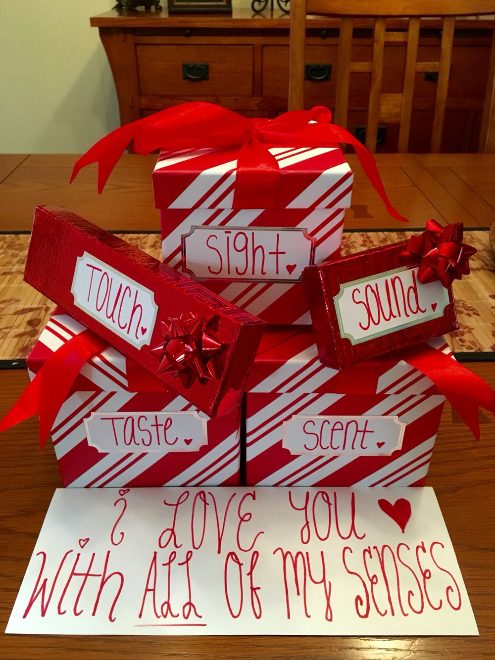 Gift Idea For Him Used The 5 Senses To Incorporate 5 Gifts For Valentine S D Diy Gifts For Him Christmas Gifts For Him Valentines Day Gifts For Him Boyfriends
