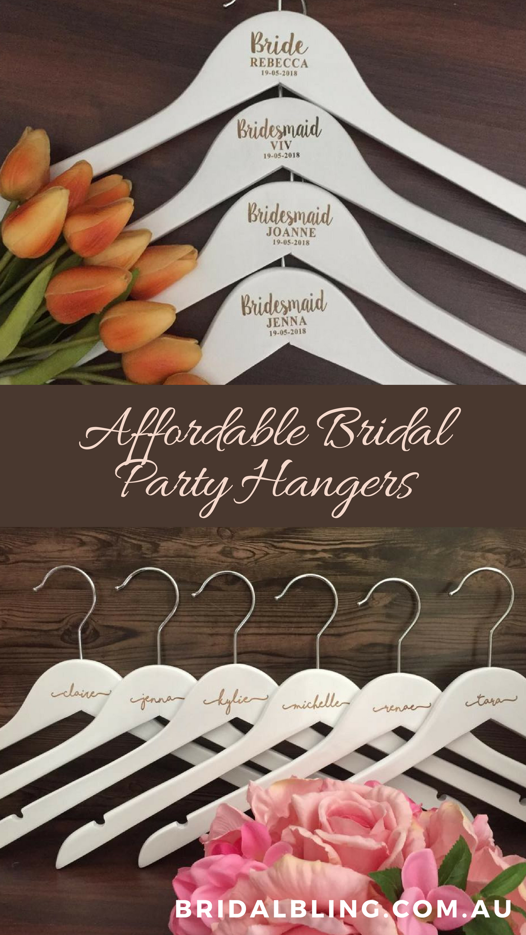 Personalised Bridal Party Hangers Engraved Wedding Affordable
