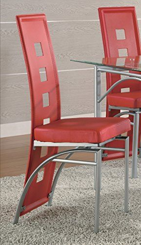 Price Tracking For Coaster Set Of 2 Dining Chairs Red Leather Like Metal Legs Matte Silver Finish 101683 Price History Chart And Drop Alerts For Amazon Man High Back