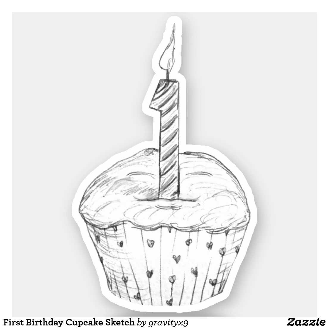 First Birthday Cupcake Sketch Sticker |  *  First Birthday Cupcake Sketch Sticker  by at * Cutout stickers are available in several size options.* Choose size and use for DIY projects, projects and scrap booking ideas, too! * contour stickers * stickers laptop ideas * cut out stickers * stickers for school * stickers for crafting * stickers for kids *