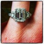 Diamond of the Day 4/17/12 - a stunning 2.39ct emerald cut GIA certified center stone flanked by emerald cut trapezoids and mounted in a platinum micropave engagement ring setting.