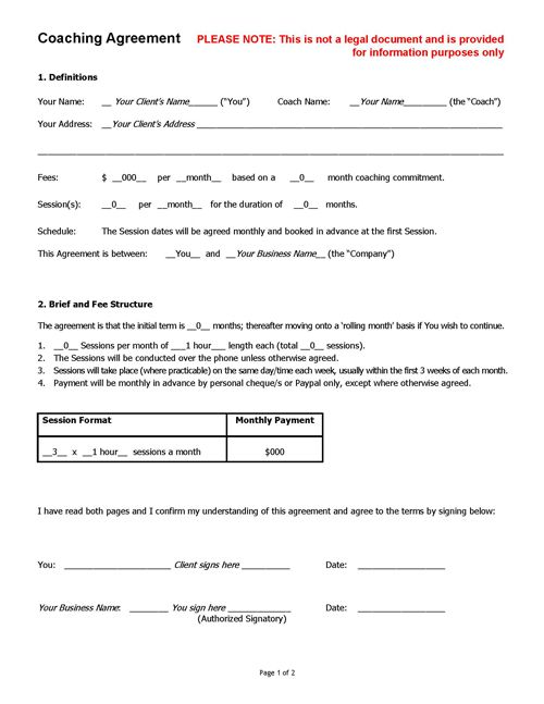 Coaching Agreement Contract TEMPLATE (Sample) Life Coach Tools
