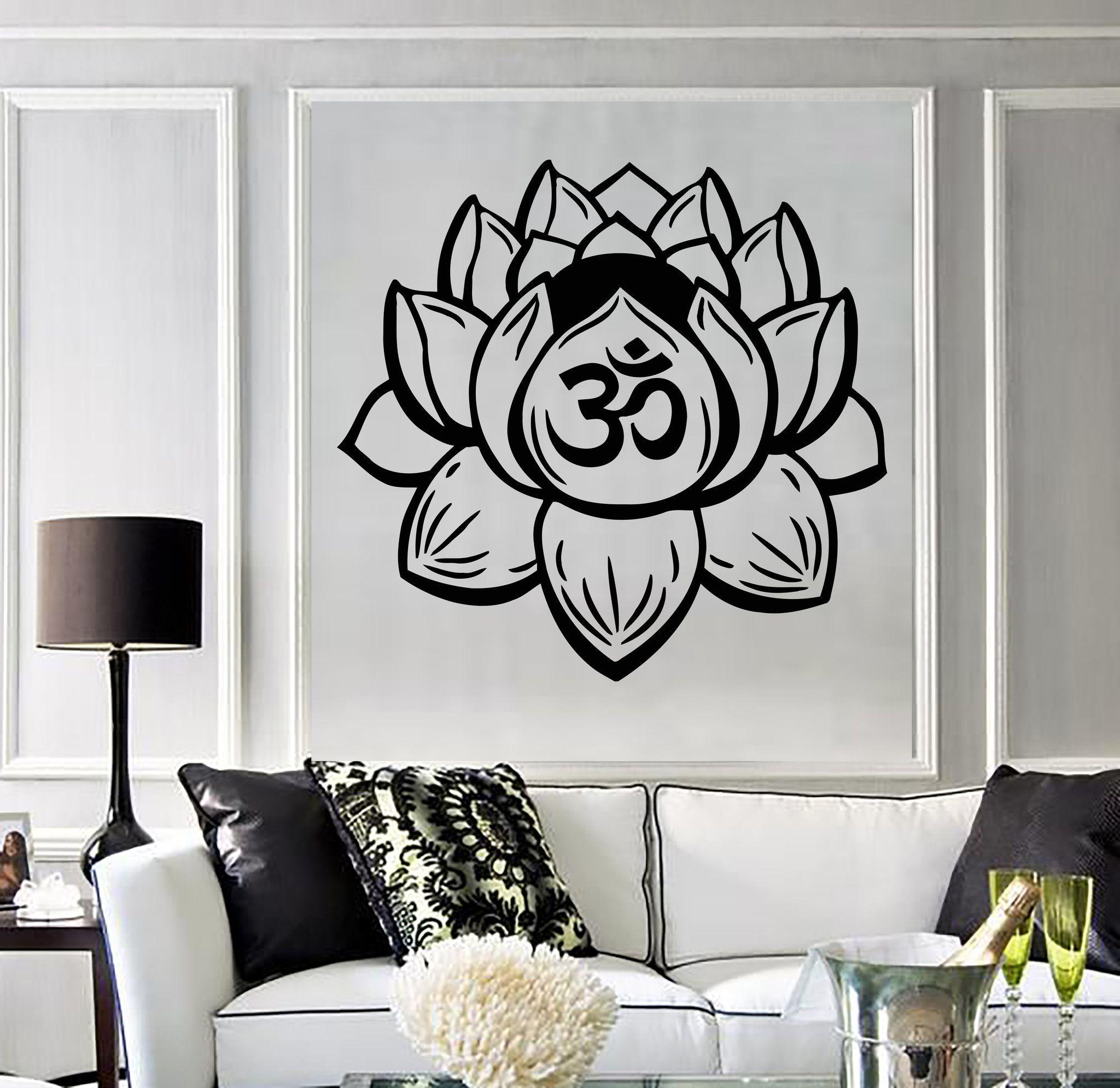 Vinyl Wall Decal Lotus Flower Yoga Buddhist Meditation Bedroom - Zen wall decalsvinyl wall decal yin yang yoga zen meditation bedroom decor