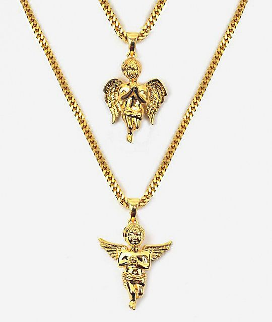 The gold gods micro angel gold necklace layered set gold necklaces the gold gods micro angel gold necklace layered set mozeypictures Image collections