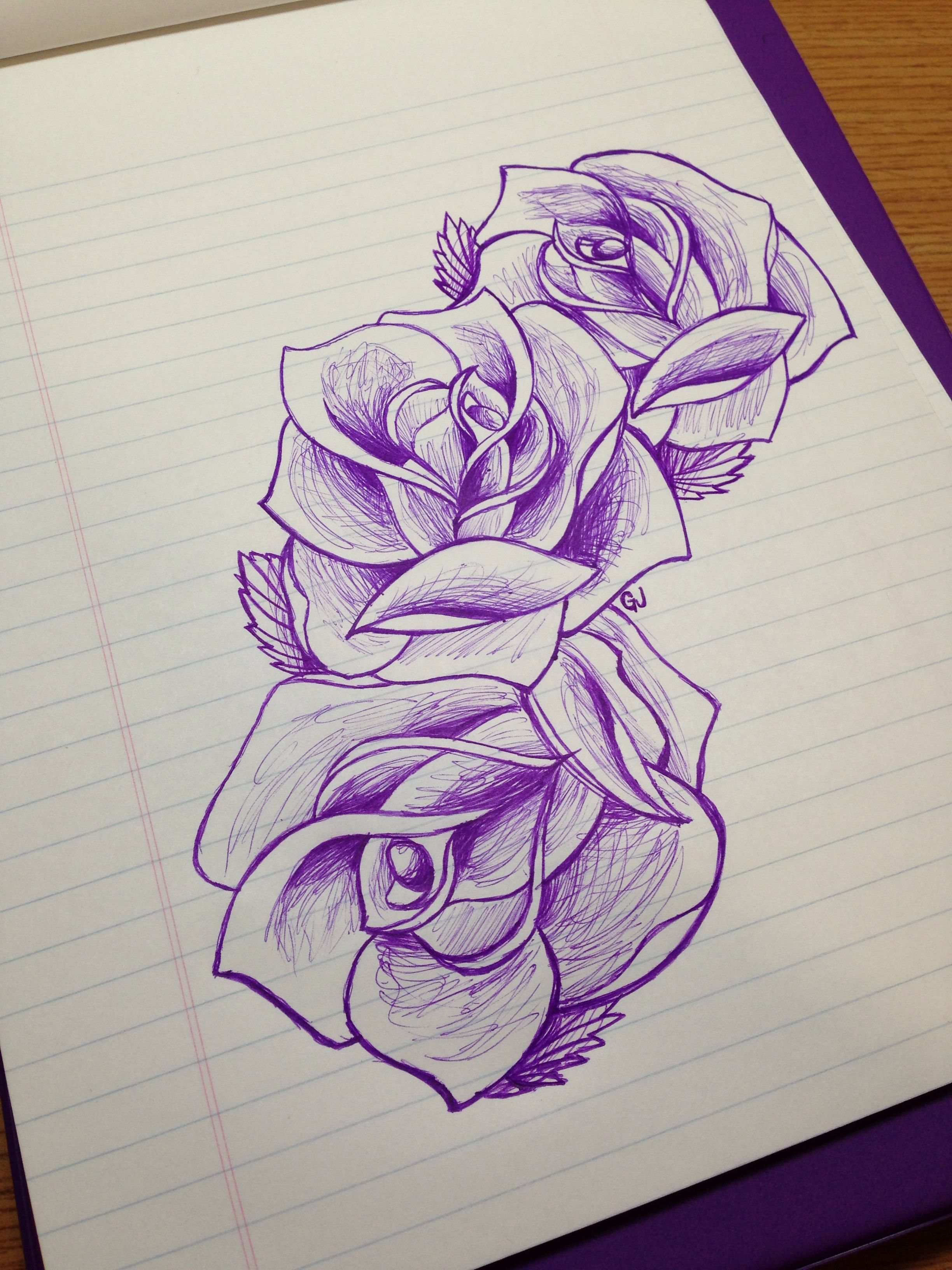 Rose Sketch Drawing Beautiful Design Three Flowers