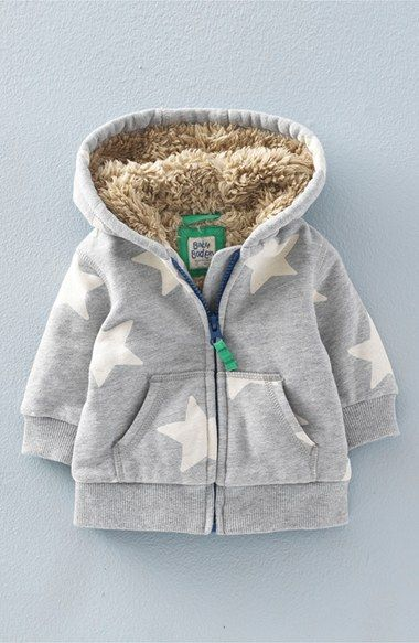 Mini Boden 'Shaggy' Lined Zip-Up Hoodie (Baby Boys & Toddler Boys)