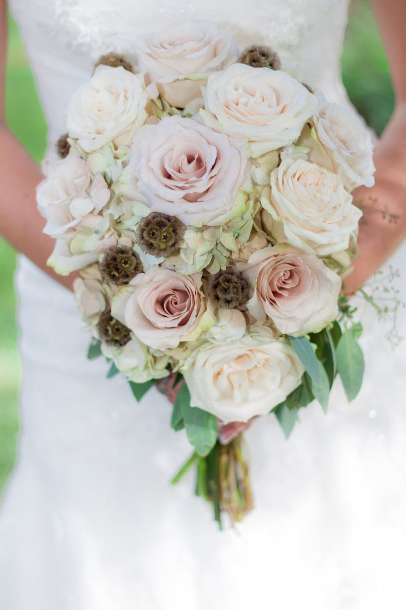 Ivory And Blush Pink Rustic Bridal Wedding Bouquet By Alta Fleura