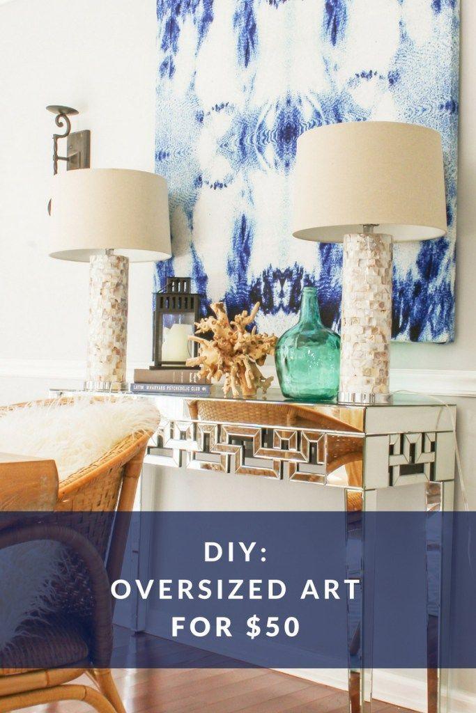 Diy Large Wall Art For Cheap Indigo Abstract Canvas Art Diy