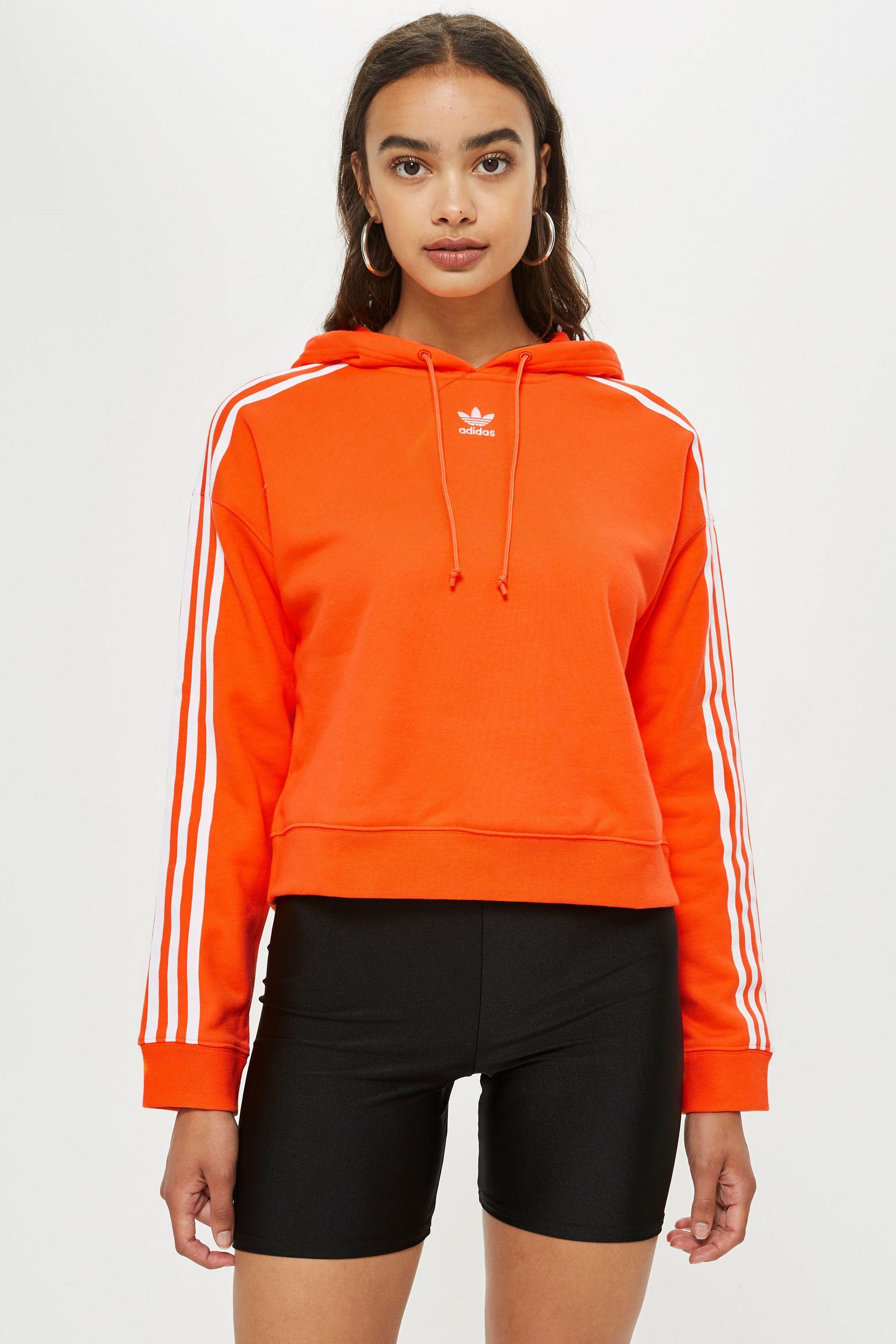 Three Striped Crop Hoodie By Adidas Topshop Adidas Sweatshirt Women Cropped Hoodie Fashion [ 3600 x 2400 Pixel ]