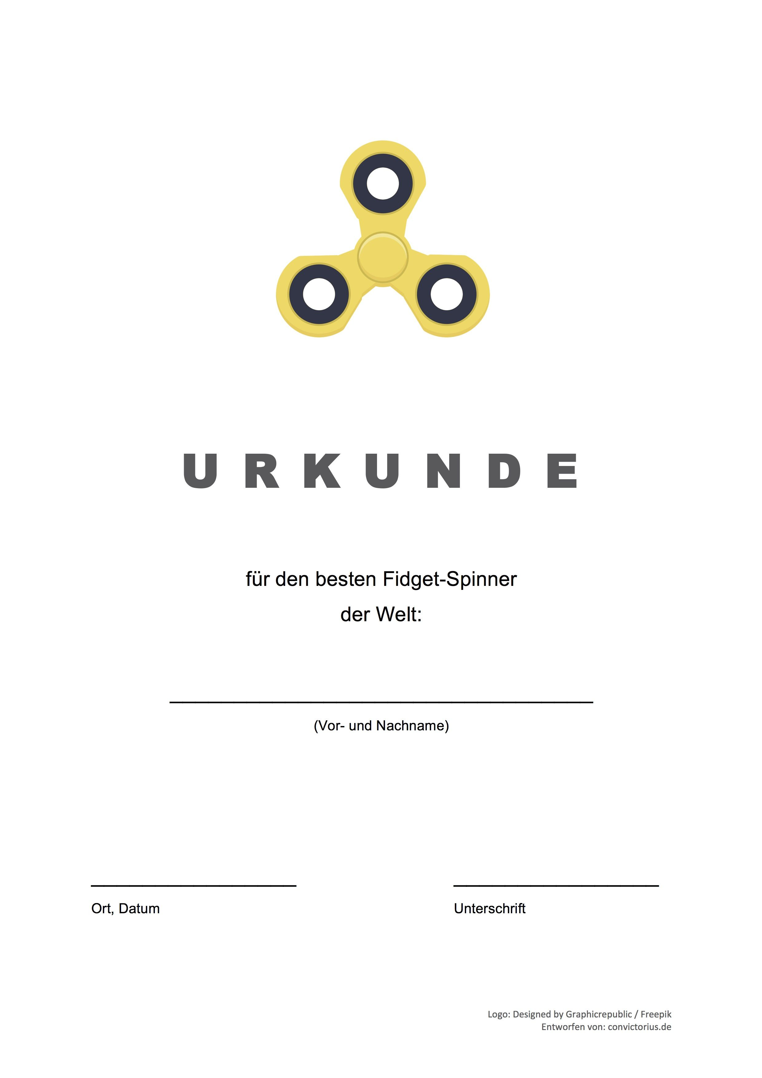 Gratis-Vorlage: Fidget Spinner Urkunde (word/pdf) | Vorlagen ...