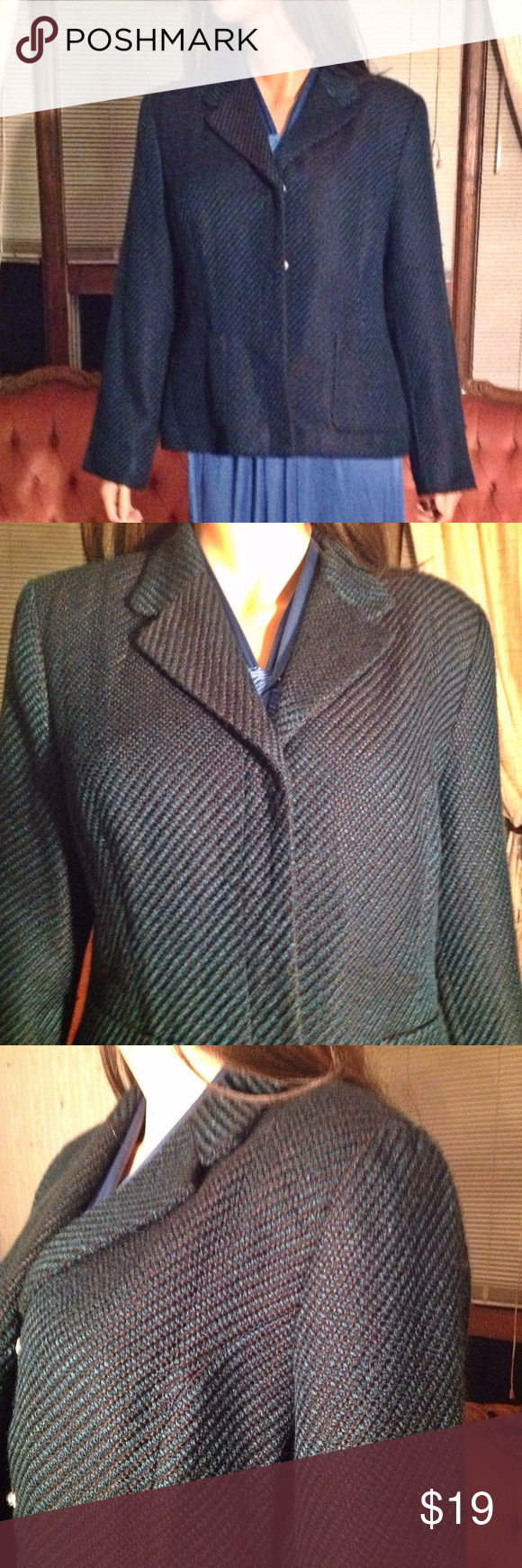 """Jackets For Women, Plaid Women Blazer Black & Blue Colors * Plaid Design Pattern * Length 22.5"""" *  Sleeves 24"""" *  Bust armpit to armpit 22"""" *  Two Front Pockets * Blazer is Lined * Snap Front Closure * Designed by Sag Harbor *  Orders ship within 1 Business Day excluding weekends. Add multiple items to a bundle to get 15% off, plus you'll save on shipping. Thanks For Shopping with Dress To Impress Thrift & Boutique.  Have A Great Day Sag Harbor Jackets & Coats Blazers"""