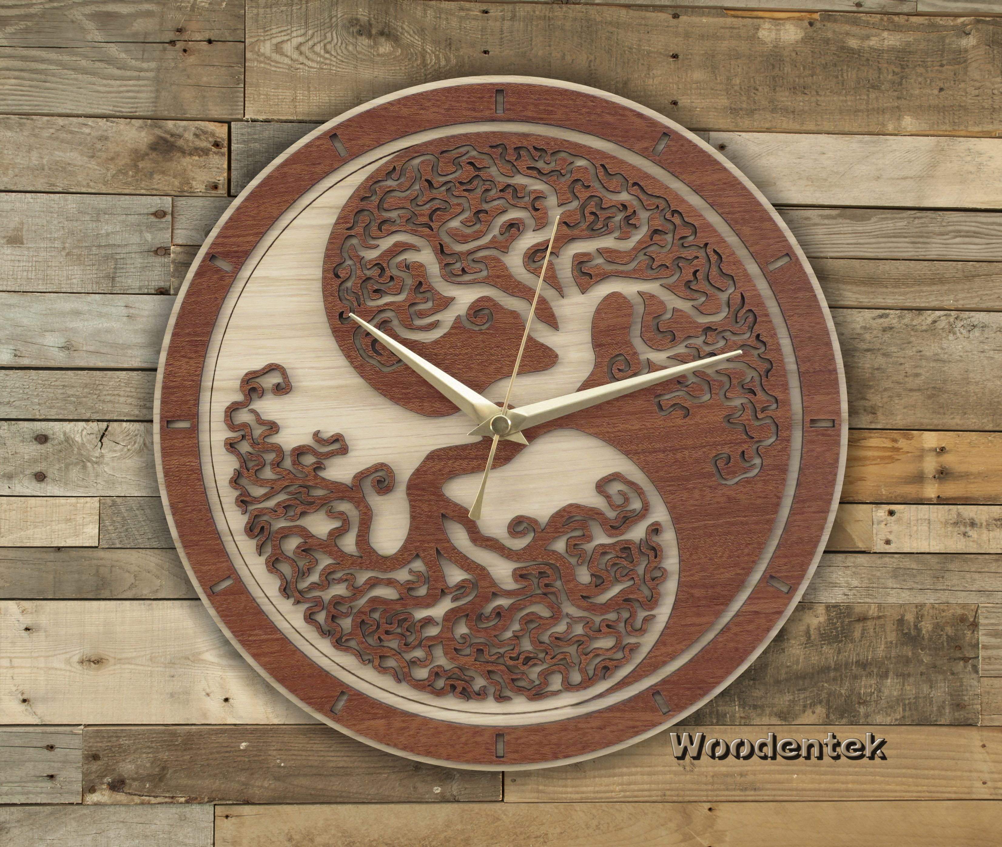 Handmade Yin Yang Tree of Life wooden clock Worldwide Shipping