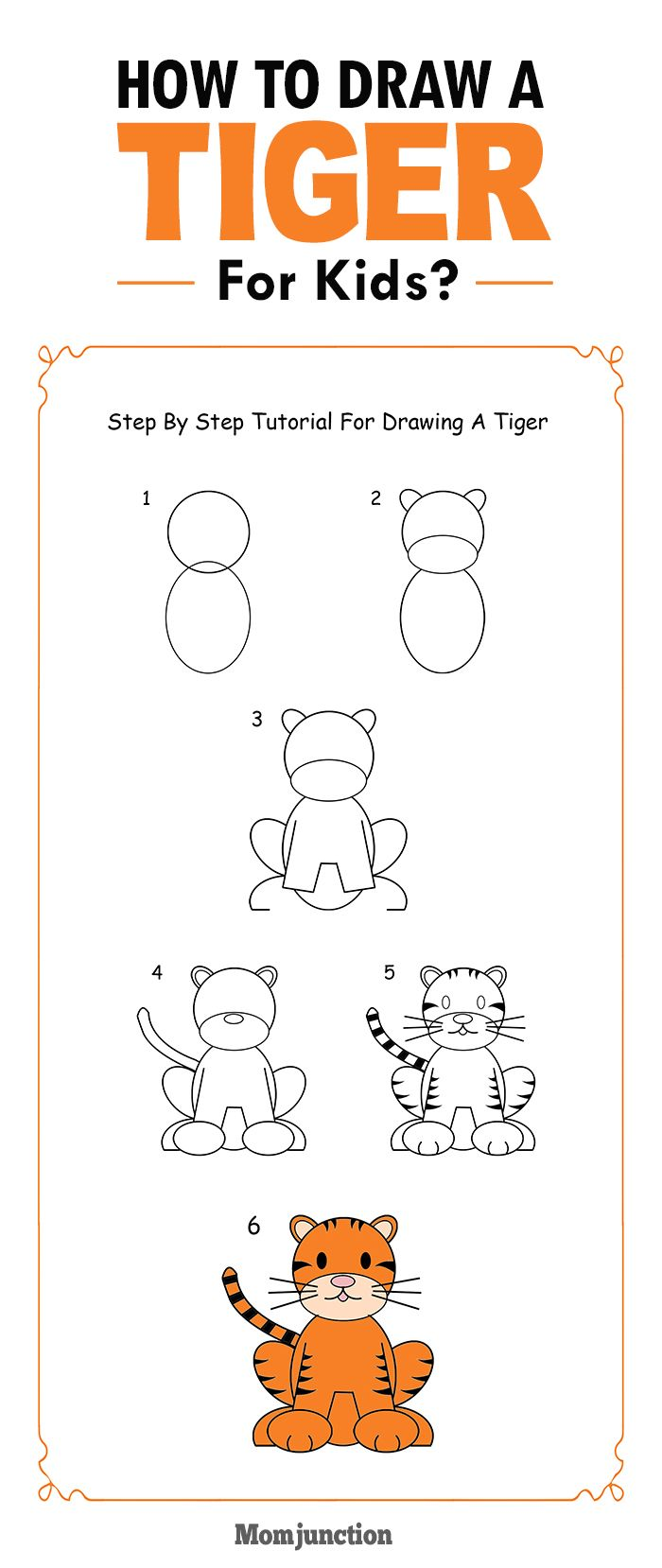 how to draw a tiger step by step for kids tigers walls and