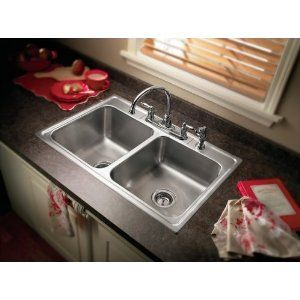 Moen 22219  Camelot 4 Hole Stainless Steel 20 Gauge Double Bowl Drop In Sink, Stainless