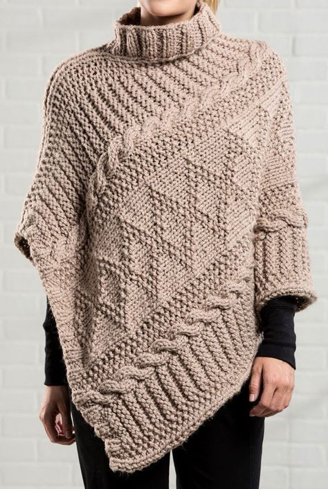 Free Knitting Pattern for Gansey Poncho - The poncho is knit in a s ...