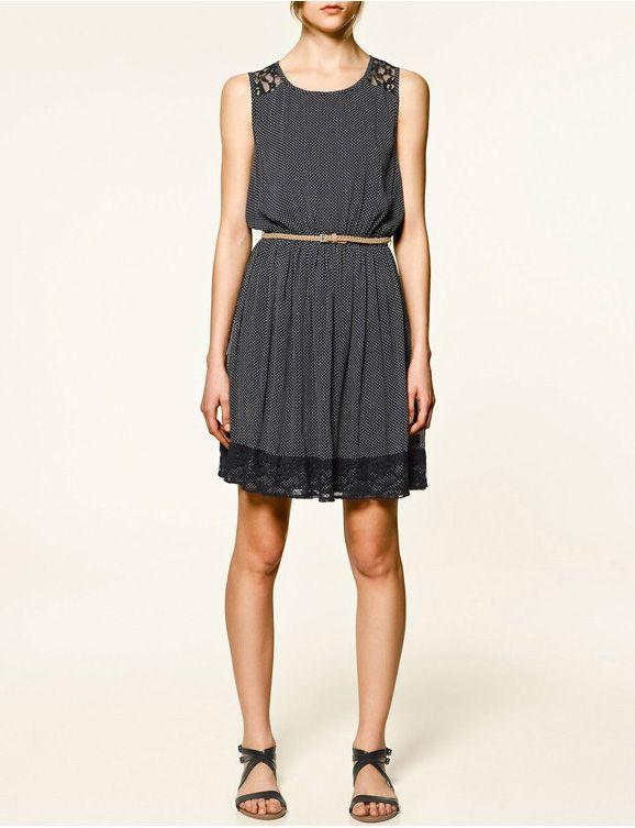 Lace Polka Dot Sleeveless Chiffon Dress