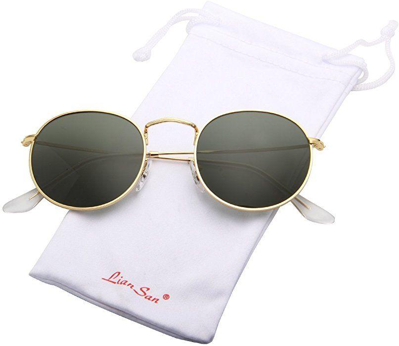 a988f127dd029 Amazon.com  LianSan Classic Metal Frame Round Circle Mirrored Sunglasses Men  Women Glasses 3447 green glass lenses …  Clothing