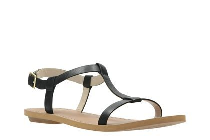 Clarks Voyage Hop Black Leather Womens Casual Sandals