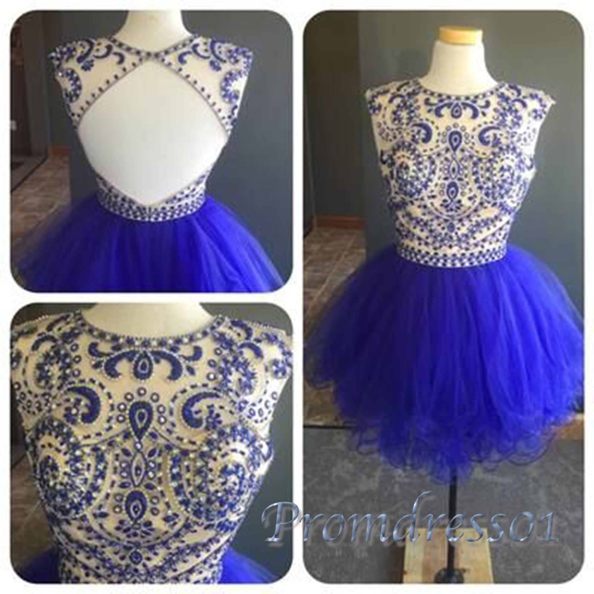 Cute backless beaded navy blue organza short prom dress with