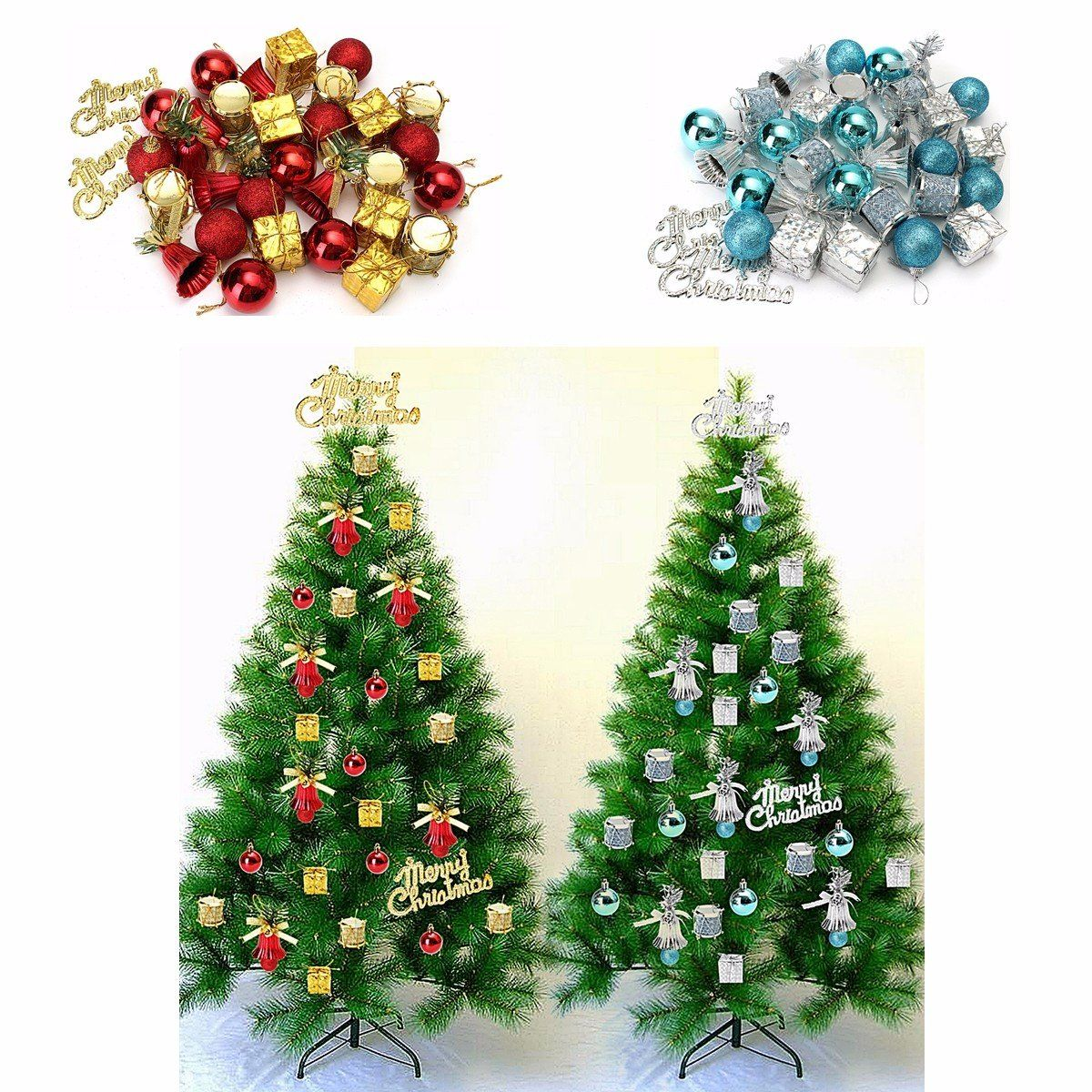 32pcs Christmas Ornaments Balls Drums Baubles Xmas Tree Pendant Home ...