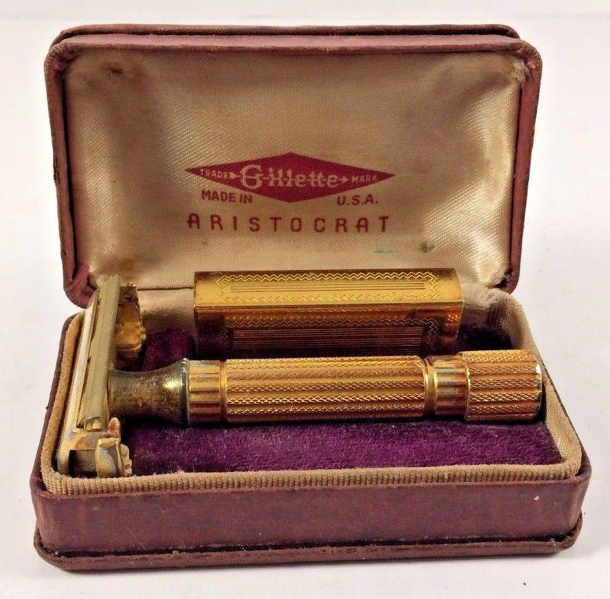 Vintage GoldTone US Gillette Aristocrat Safety Razor Case