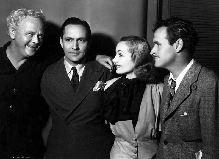 Charles Winninger, Fredric March, Carole Lombard & dir. W. A. Wellman on set of Nothing Sacred, 1937.