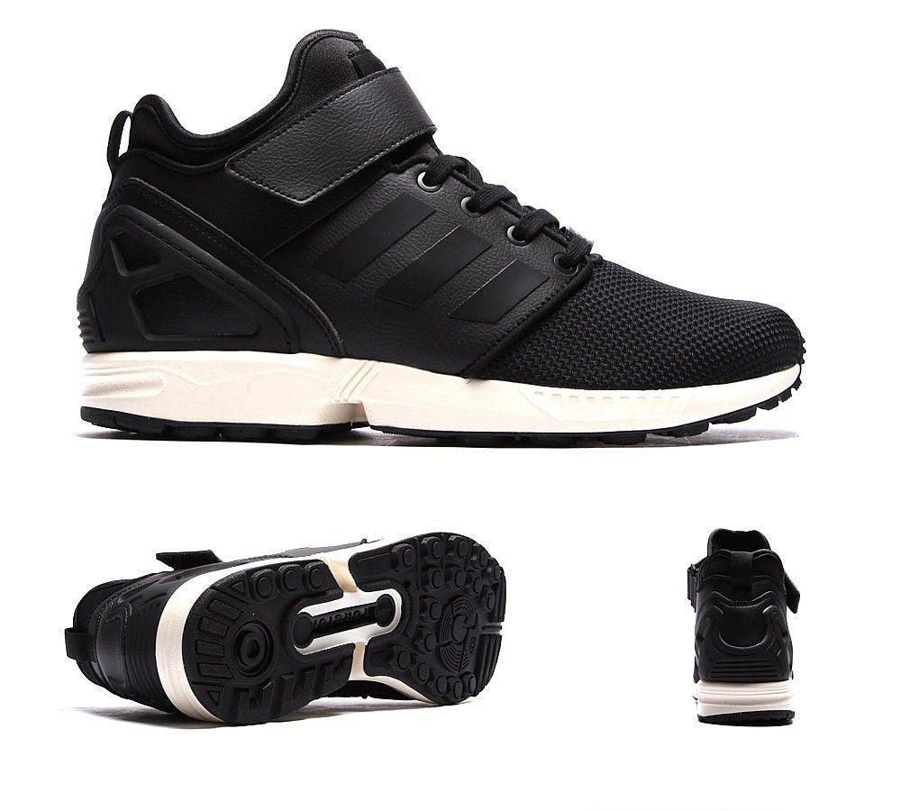 Adidas originali zx flusso pn metà allenatore nero / bianco
