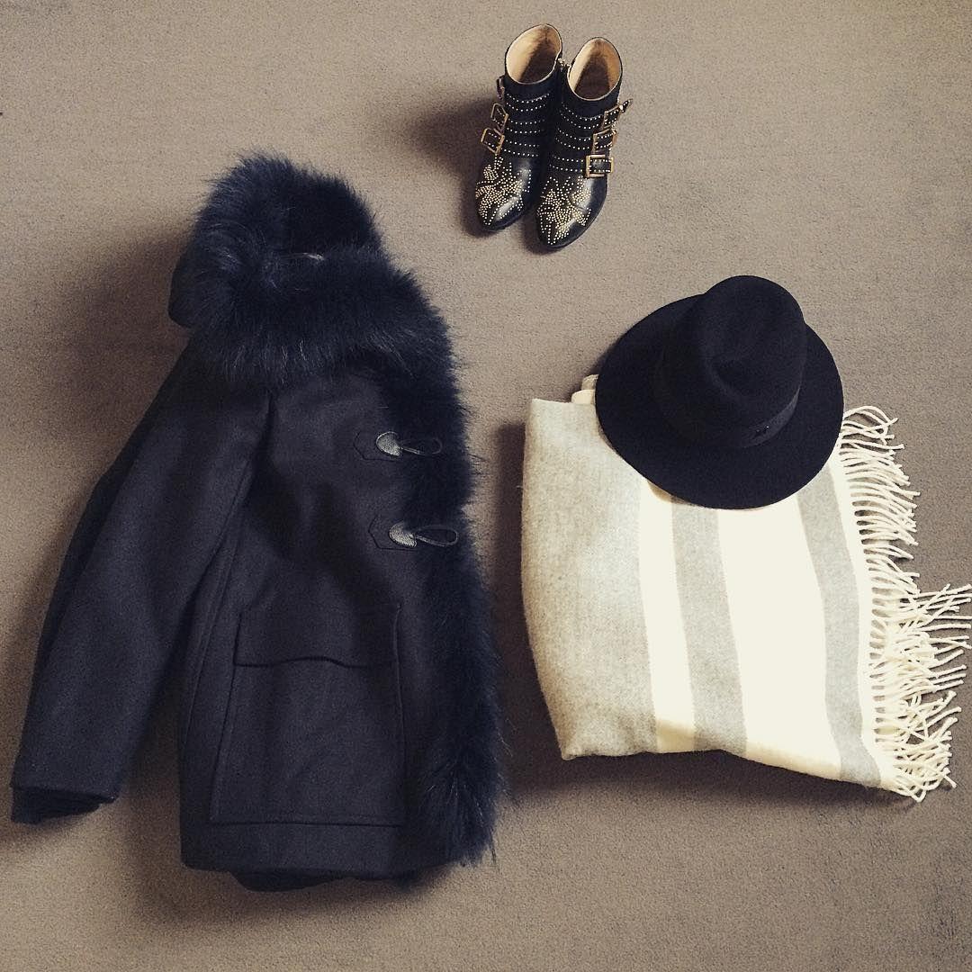 Winter essentials: Maje coat, Chloé boots, Claudie Pierlot poncho and Maison Michel hat.