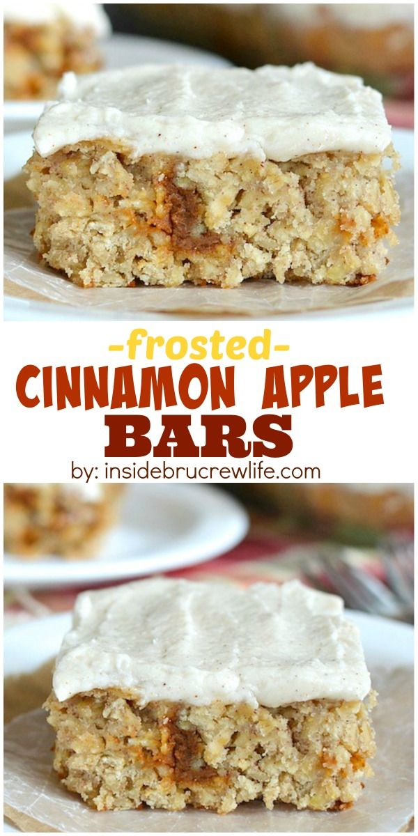 Frosted Cinnamon Apple Bars | Recipe | Flowers, Cinnamon apples and ...