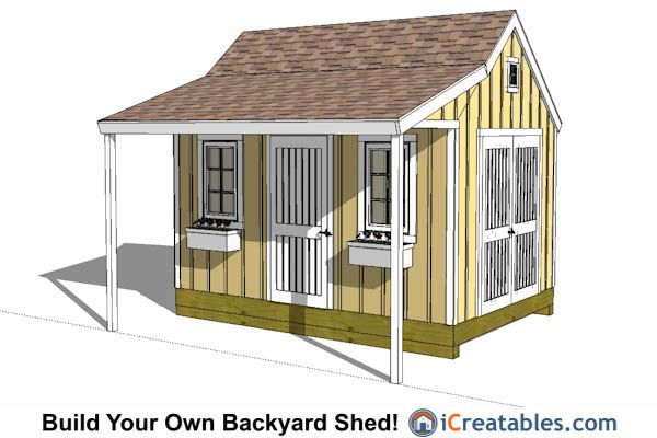 Garden Sheds With Patio 10x14 colonial shed with a cute front porch.   10x14 shed plans
