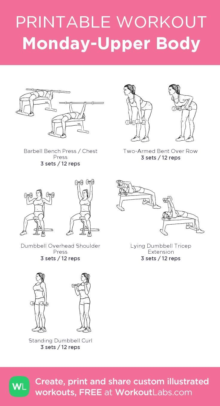 Monday-Upper Body: my visual workout created at WorkoutLabs.com • Click through to customize and download as a FREE PDF! #customworkout #beginnerarmworkouts